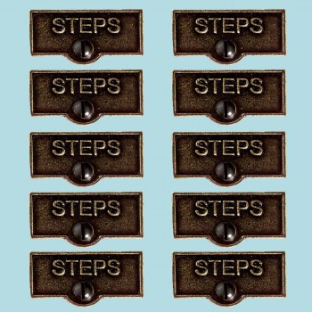 <PRE>10 Switch Plate Tags STEPS Name Signs Labels Cast Brass </PRE>zoom2