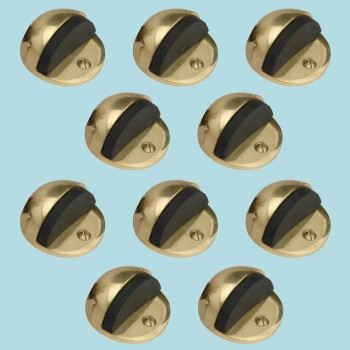 10 Brass Door Stop Floor Mount Dome Gray Rubber Bumper Floor Stop Door Stop Door Bumper