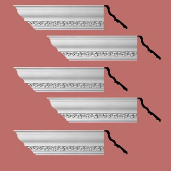 Renovators Supply Cornice White Urethane Sabine Ornate Design 5 Pieces Totaling 470 Length White PrePrimed Urethane Crown Cornice Molding Cornice Crown Home Depot Ekena Millwork Molding Wall Ceiling Corner Cornice Crown Cove Molding