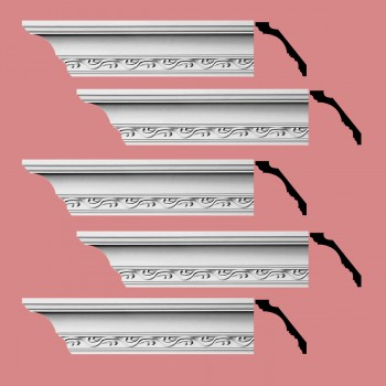 Renovators Supply Cornice White Urethane Capucina Ornate Design 5 Pieces Totaling 475 Length White PrePrimed Urethane Crown Cornice Molding Cornice Crown Home Depot Ekena Millwork Molding Wall Ceiling Corner Cornice Crown Cove Molding