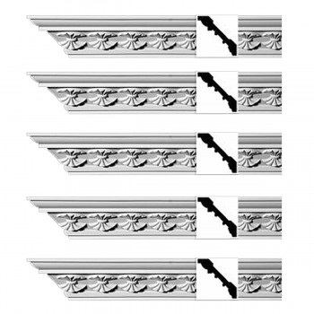Renovators Supply Ornate Cornice White Urethane Carlotta Design 5 Pieces Totaling 470 Length White PrePrimed Urethane Crown Cornice Molding Cornice Crown Home Depot Ekena Millwork Molding Wall Ceiling Corner Cornice Crown Cove Molding