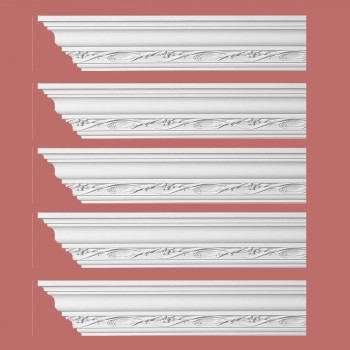 "spec-<PRE>Renovator's Supply Ornate Cornice White Urethane Elisabetta Design 5 Pieces Totaling 480"" Length</PRE>"