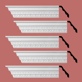 "spec-<PRE> Cornice White Urethane Kingsbridge Ornate Design 5 Pieces Totaling 480"" Length</PRE>"
