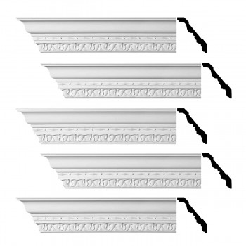 Renovators Supply Cornice White Urethane Kingsbridge Ornate Design 5 Pieces Totaling 480 Length White PrePrimed Urethane Crown Cornice Molding Cornice Crown Home Depot Ekena Millwork Molding Wall Ceiling Corner Cornice Crown Cove Molding