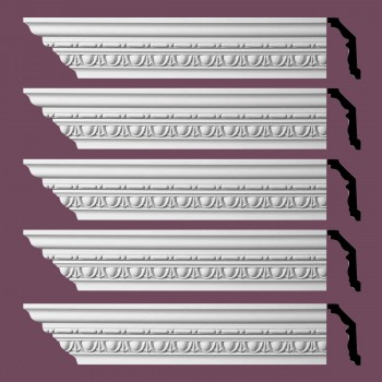Renovators Supply Ornate Cornice White Urethane Weybridge Design 5 Pieces Totaling 480 Length White PrePrimed Urethane Crown Cornice Molding Cornice Crown Home Depot Ekena Millwork Molding Wall Ceiling Corner Cornice Crown Cove Molding