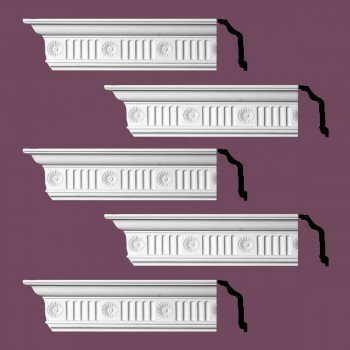 Renovators Supply  Ornate Cornice White Urethane Design 5 Pieces Totaling 480 Length White PrePrimed Urethane Crown Cornice Molding Cornice Crown Home Depot Ekena Millwork Molding Wall Ceiling Corner Cornice Crown Cove Molding