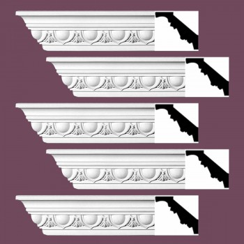 Renovators Supply Cornice White Urethane Dunkirk Design 5 Pieces Totaling 470 Length White PrePrimed Urethane Crown Cornice Molding Cornice Crown Home Depot Ekena Millwork Molding Wall Ceiling Corner Cornice Crown Cove Molding