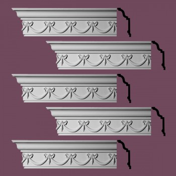 "spec-<PRE>Renovator's Supply Ornate Cornice White Urethane Hastings On Hudson  5 Pieces Totaling 480"" Length</PRE>"
