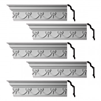 Renovators Supply Ornate Cornice White Urethane Hastings On Hudson  5 Pieces Totaling 480 Length White PrePrimed Urethane Crown Cornice Molding Cornice Crown Home Depot Ekena Millwork Molding Wall Ceiling Corner Cornice Crown Cove Molding