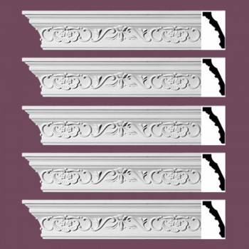 "spec-<PRE> Ornate Cornice White Urethane Amaryllis Design 5 Pieces Totaling 470"" Length</PRE>"