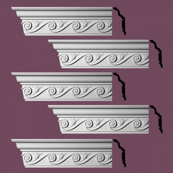 Renovators Supply Ornate Cornice White Urethane Lilith Design 5 Pieces Totaling 480 Length White PrePrimed Urethane Crown Cornice Molding Cornice Crown Home Depot Ekena Millwork Molding Wall Ceiling Corner Cornice Crown Cove Molding