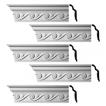 <PRE>Renovator's Supply Ornate Cornice White Urethane Lilith Design 5 Pieces Totaling 480inch Length</PRE>zoom1