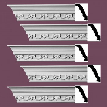 Renovators Supply Ornate Cornice White Urethane Cheshire Design 5 Pieces Totaling 470 Length White PrePrimed Urethane Crown Cornice Molding Cornice Crown Home Depot Ekena Millwork Molding Wall Ceiling Corner Cornice Crown Cove Molding