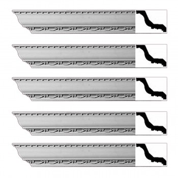 Renovators Supply Ornate Cornice White Urethane Tyringham Design 5 Pieces Totaling 470 Length White PrePrimed Urethane Crown Cornice Molding Cornice Crown Home Depot Ekena Millwork Molding Wall Ceiling Corner Cornice Crown Cove Molding