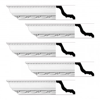 Renovators Supply Ornate Cornice White Urethane Williamstown Design 5 Pieces Totaling 470 Length White PrePrimed Urethane Crown Cornice Molding Cornice Crown Home Depot Ekena Millwork Molding Wall Ceiling Corner Cornice Crown Cove Molding