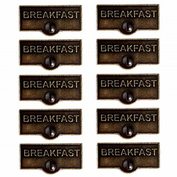 10 Switch Plate Tags BREAKFAST Name Signs Labels Cast Brass Switch Plate Labels Switch Plate ID Labels Switch Plate Label