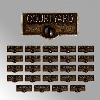 <PRE>25 Switch Plate Tags COURTYARD Name Signs Labels Cast Brass </PRE>zoom2