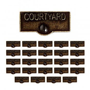 <PRE>25 Switch Plate Tags COURTYARD Name Signs Labels Cast Brass </PRE>zoom1