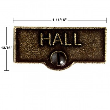 spec-<PRE>25 Switch Plate Tags HALL Name Signs Labels Cast Brass </PRE>