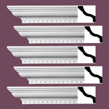 Renovators Supply Ornate Cornice White Urethane Hawley Design 5 Pieces Totaling 470 Length White PrePrimed Urethane Crown Cornice Molding Cornice Crown Home Depot Ekena Millwork Molding Wall Ceiling Corner Cornice Crown Cove Molding