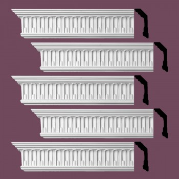 Renovators Supply Ornate Cornice White Urethane Shelburn Falls Design 5 Pieces Totaling 470 Length White PrePrimed Urethane Crown Cornice Molding Cornice Crown Home Depot Ekena Millwork Molding Wall Ceiling Corner Cornice Crown Cove Molding