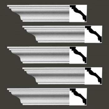 Renovators Supply Cornice White Urethane Ashby Simple Design 5 Pieces Totaling 470 Length White PrePrimed Urethane Crown Cornice Molding Cornice Crown Home Depot Ekena Millwork Molding Wall Ceiling Corner Cornice Crown Cove Molding