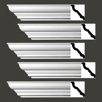 Renovators Supply Cornice White Urethane Haverhill Design 5 Pieces Totaling 470 Length White PrePrimed Urethane Crown Cornice Molding Cornice Crown Home Depot Ekena Millwork Molding Wall Ceiling Corner Cornice Crown Cove Molding