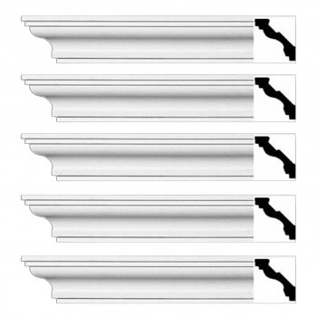 Renovators Supply Cornice White Urethane Marblehead Simple Design 5 Pieces Totaling 470 Length White PrePrimed Urethane Crown Cornice Molding Cornice Crown Home Depot Ekena Millwork Molding Wall Ceiling Corner Cornice Crown Cove Molding