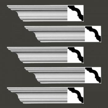 Renovators Supply Cornice White Urethane Merrimac Simple Design 5 Pieces Totaling 470 Length White PrePrimed Urethane Crown Cornice Molding Cornice Crown Home Depot Ekena Millwork Molding Wall Ceiling Corner Cornice Crown Cove Molding