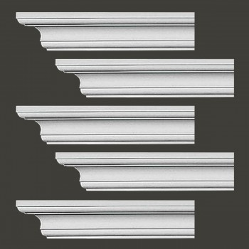 "spec-<PRE>Renovator's Supply Cornice White Urethane Ipswich Simple Design 5 Pieces Totaling 470"" Length</PRE>"