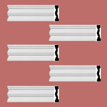 "spec-<PRE> Crown Molding White Urethane Wellfleet  Design 5 Pieces Totaling 480"" Length</PRE>"