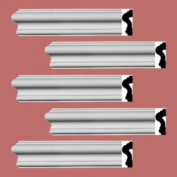Renovators Supply Crown Molding White Urethane Caravaggio  Design 5 Pieces Totaling 475 Length White PrePrimed Urethane Crown Cornice Molding Cornice Crown Home Depot Ekena Millwork Molding Wall Ceiling Corner Cornice Crown Cove Molding
