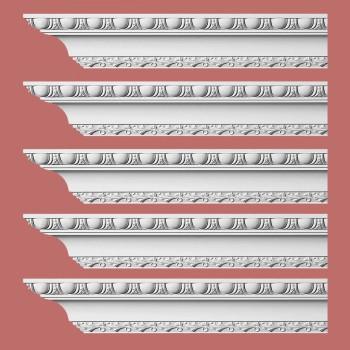 Renovators Supply Ornate Cornice White Urethane Brewster Design 5 Pieces Totaling 480 Length White PrePrimed Urethane Crown Cornice Molding Cornice Crown Home Depot Ekena Millwork Molding Wall Ceiling Corner Cornice Crown Cove Molding