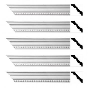 Renovators Supply Ornate Cornice White Urethane Chilton Springs  5 Pieces Totaling 470 Length White PrePrimed Urethane Crown Cornice Molding Cornice Crown Home Depot Ekena Millwork Molding Wall Ceiling Corner Cornice Crown Cove Molding