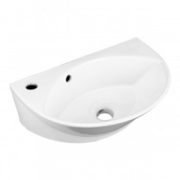 Small Wall Mount Sink White Porcelain with Overflow Left Side Faucet Hole51667grid