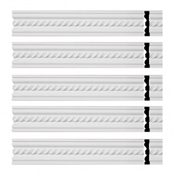 Renovators Supply Crown Molding White Urethane Wentworth Ornate  5 Pieces Totaling 470 Length White PrePrimed Urethane Crown Cornice Molding Cornice Crown Home Depot Ekena Millwork Molding Wall Ceiling Corner Cornice Crown Cove Molding