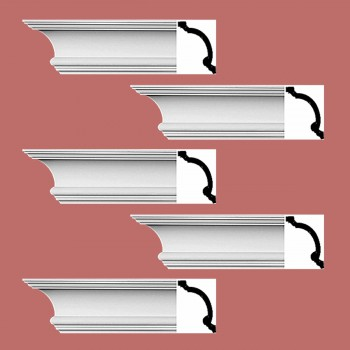 <PRE>Renovator's Supply Cornice White Urethane Hilton Head Simple Design 5 Pieces Totaling 480inch Length</PRE>zoom2