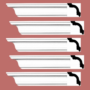 <PRE>Renovator's Supply Cornice White Urethane Fredricksburg Simple Design 5 Pieces Totaling 480inch Length</PRE>zoom2