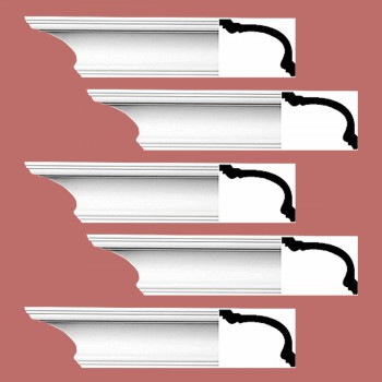Renovators Supply Cornice White Urethane Asheville Simple Design 5 Pieces Totaling 470 Length White PrePrimed Urethane Crown Cornice Molding Cornice Crown Home Depot Ekena Millwork Molding Wall Ceiling Corner Cornice Crown Cove Molding