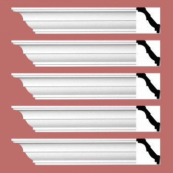 "spec-<PRE> Cornice White Urethane Holly Springs Simple Design 5 Pieces Totaling 470"" Length</PRE>"