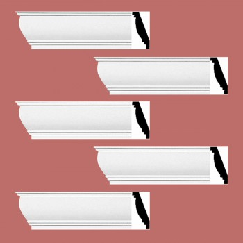 Renovators Supply Cornice White Urethane Waterbury Simple Design 5 Pieces Totaling 470 Length White PrePrimed Urethane Crown Cornice Molding Cornice Crown Home Depot Ekena Millwork Molding Wall Ceiling Corner Cornice Crown Cove Molding