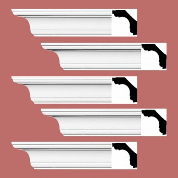 Renovators Supply Cornice White Urethane New Britain Simple Design 5 Pieces Totaling 470 Length White PrePrimed Urethane Crown Cornice Molding Cornice Crown Home Depot Ekena Millwork Molding Wall Ceiling Corner Cornice Crown Cove Molding