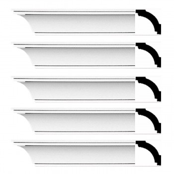 Renovators Supply Cornice White Urethane Dover Simple Design 5 Pieces Totaling 470 Length White PrePrimed Urethane Crown Cornice Molding Cornice Crown Home Depot Ekena Millwork Molding Wall Ceiling Corner Cornice Crown Cove Molding