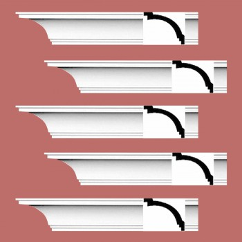 Renovators Supply Cornice White Urethane Madison Simple Design 5 Pieces Totaling 475 Length White PrePrimed Urethane Crown Cornice Molding Cornice Crown Home Depot Ekena Millwork Molding Wall Ceiling Corner Cornice Crown Cove Molding