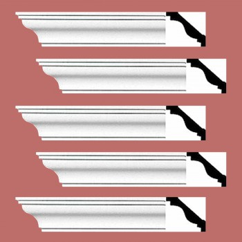 <PRE>Renovator's Supply Cornice White Urethane Pleasance Simple Design 5 Pieces Totaling 480inch Length</PRE>zoom2