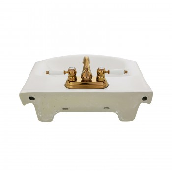 Tahoe Small Wall Mounted Bathroom Sink White Ceramic with Overflow Combo Set with Brass Faucet and Matching Drain Hardware