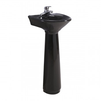 Black Corner Small Pedestal Bathroom Sink Vitreous China Renovator's Supply51863grid