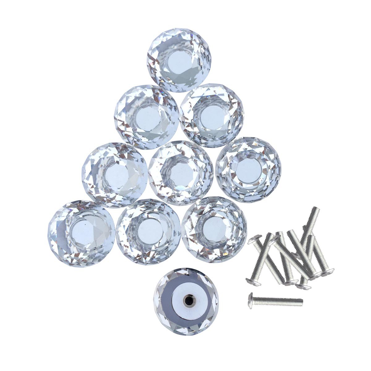 Clear Glass Cabinet Knobs 1.8 Inch Projection Mushroom 40 pcs Cabinet Hardware Cabinet Knobs Cabinet Knob