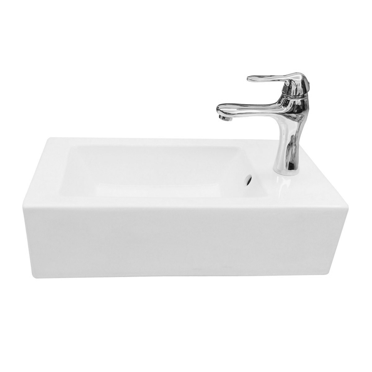 Small Wall Mount Bathroom Sink Rectangle With Overflow