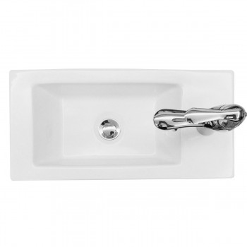 <PRE>Small Wall Mount Bathroom Sink Rectangle with Overflow RightSide Hole </PRE>zoom5